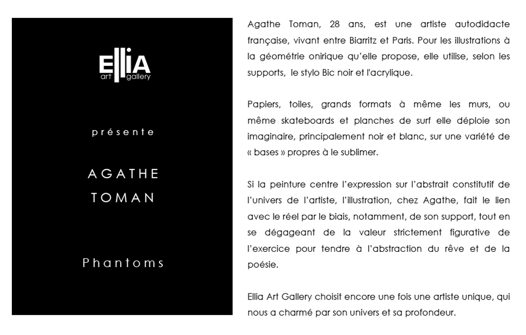 Agathe Toman Paris Ellia Gallery Solo Art Show Painting Drawing