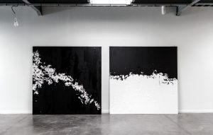 Agathe Toman UNTITLED #5 #6 Art Painting Canvas Black and White Abstract Artist Contemporary Modern Acrylic Biarritz Claudia Lederer